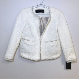 NWT Zara Cream Blazer Jacket Tweed Fringe XS